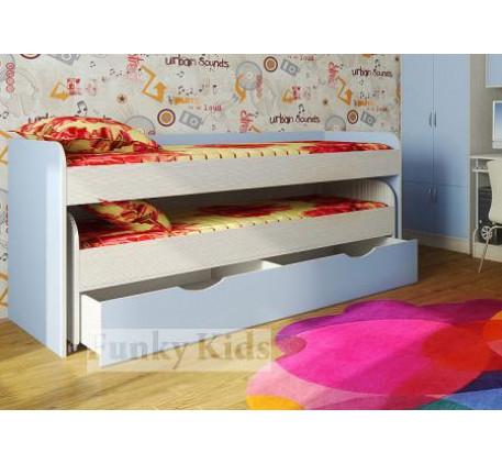 Двухъярусная выдвижная кровать Фанки Кидз-8 для двоих детей с выкатным спальным местом с ящиком