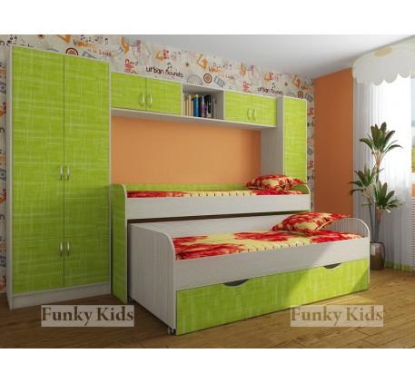 Кровать с выдвижным спальным местом Фанки Кидз-8 с выкатным спальным местом +шкаф 13/2 +мост 13/50 +..