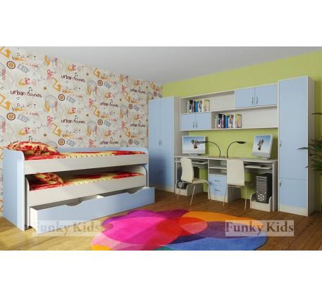 Выкатная кровать для двоих детей Фанки Кидз-8 +шкаф 13/2 +мост 13/12 +стол 13/51 +пенал 13/10