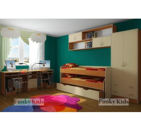 Двухъярусная выкатная кровать Фанки Кидз-8 +шкаф 13/3 +мост 13/12 +стол 13/51