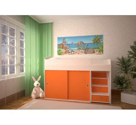 Кровать-чердак Малыш-Купе, детское спальное место 160х70 см