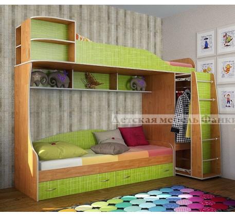 Двухъярусная кровать Фанки Кидз-12 с выдвижным шкафом, спальные места 190х80 см