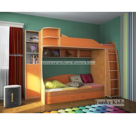 2-х ярусная кровать Фанки Кидз-12 +стеллаж 13/16, спальные места 190х80 см