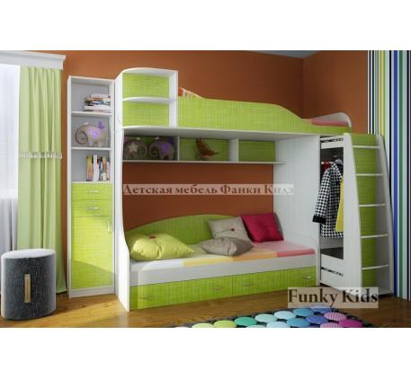 Детская двухъярусная кровать Фанки Кидз-12 +стеллаж 13/16, спальные места 190х80 см