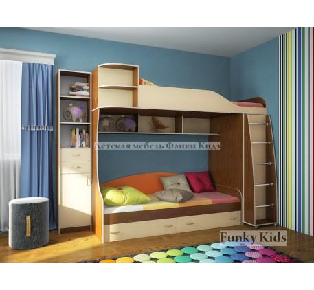 Детская 2-х ярусная кровать Фанки Кидз-12 +стеллаж 13/16, спальные места 190х80 см