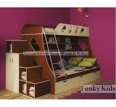 Детская мебель для двоих детей Фанки Кидз-16 +лестница-стеллаж 13/29.