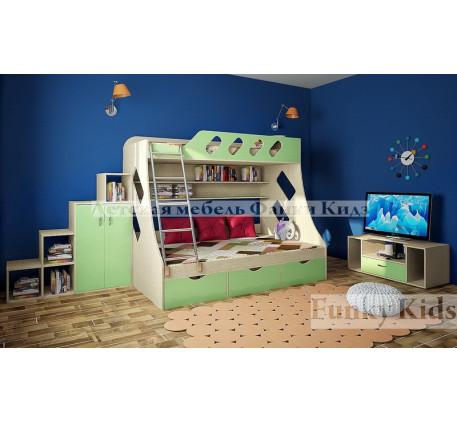 Кровать для 2 детей Фанки Кидз-16 +лестница-стеллаж 13/29 +подставка для ТВ 13/22