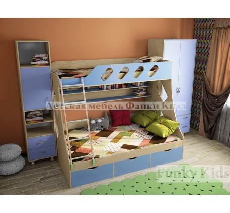 Двухэтажная кровать Фанки Кидз-16 +шкаф13/20 +пенал13/21