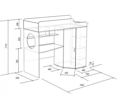 Кровать-чердак с рабочей зоной Легенда-4.2 с тумбой, спальное место 190х80 см