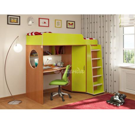 Детская кровать-чердак Легенда-4.1 со столом и шкафом, спальное место 190х80 см
