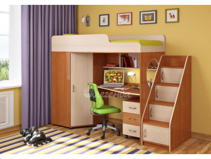 Кровать-чердак Легенда-4.3 с тумбой и лестницей с ящиками, спальное место 190х80 см