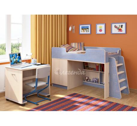 Кровать-чердак для мальчика Легенда 2.2 со столом Л-02, спальное место 160х80 см
