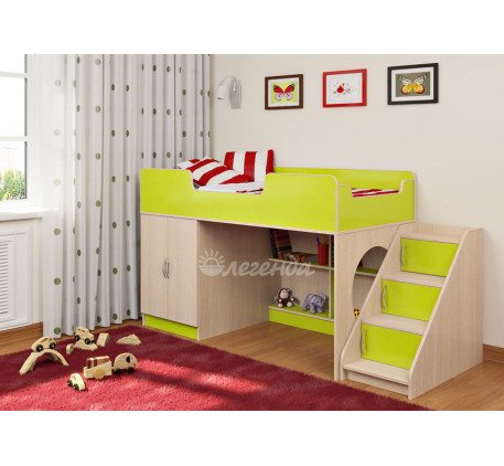 Кровать-чердак Легенда-2.4 с лестницей с ящиками ЛУ-02, спальное место 160х80 см