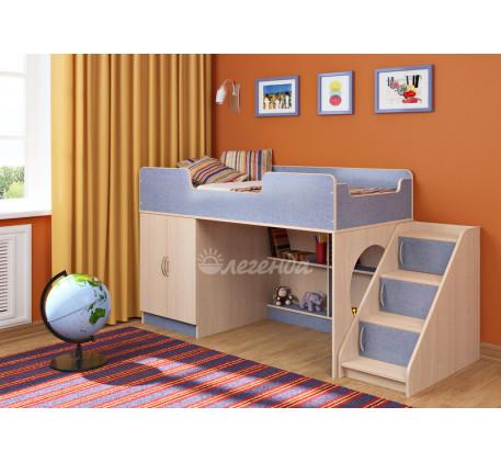 Кровать-чердак Легенда-2.4 для мальчика с лестницей ЛУ-02, спальное место 160х80 см
