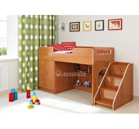 Кровать-чердак с игровой зоной Легенда-2.4 с лестницей ЛУ-02, спальное место 160х80 см