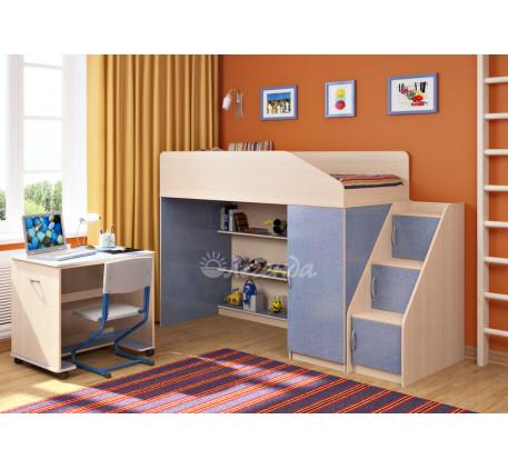 Кровать-чердак для мальчика Легенда-11.6 со столом Л-02, спальное место 180х80 см
