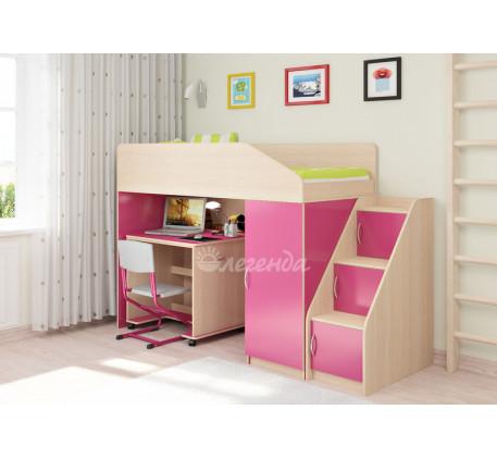 Кровать-чердак для девочки Легенда-11.6 со столом Л-02, спальное место 180х80 см