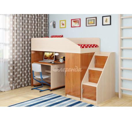 Кровать-чердак для детей Легенда-11.6 со столом Л-02, спальное место 180х80 см