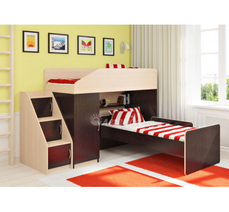 Кровать-чердак Легенда-11.7 с кроватью Легенда-14 внизу, спальные места 180х80 см