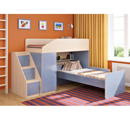 Кровать-чердак для мальчика Легенда-11.7 с кроватью Легенда-14 внизу, спальные места 180х80 см