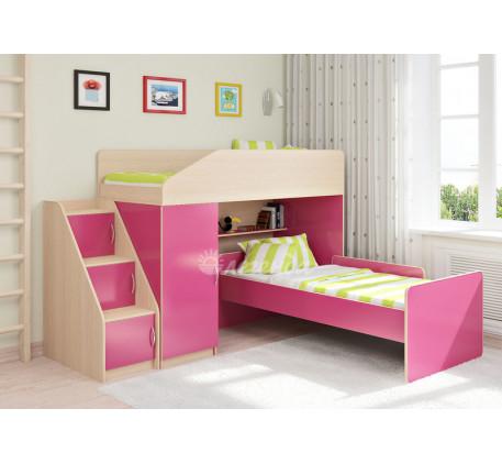 Кровать-чердак для девочек Легенда-11.7 с кроватью Легенда-14 внизу, спальные места 180х80 см