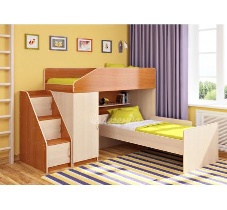 Детская кровать-чердак Легенда-11.7 с кроватью внизу Легенда-14, спальные места 180х80 см