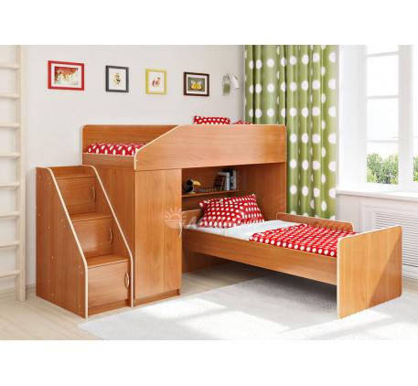 Кровать-чердак для двоих Легенда-11.7 с кроватью Легенда-14 внизу, спальные места 180х80 см