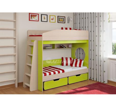 Двухъярусная кровать с ящиками Легенда-10.2, спальные места 180х80 см