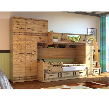 Двухъярусная кровать Корсар с шкафом и антресолью. Верхнее спальное место 190х80, нижнее 190х90 см