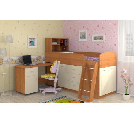 Кровать-чердак Дюймовочка-1 низкая со шкафами и столом, спальное место 190х80 см