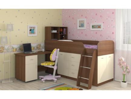 Детская кровать-чердак Дюймовочка-1 с рабочей зоной, спальное место 190х80 см