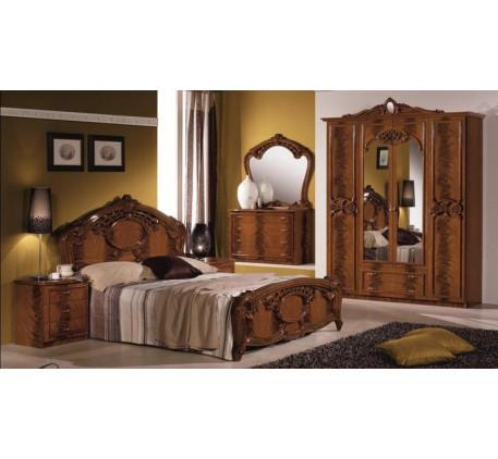 Спальня Ольга (на фото): Кровать, Тумба прикроватная (2 шт.),  Комод с зеркалом, Шкаф 4 дверный. Доп..
