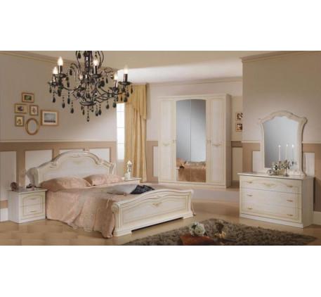 Спальня Ирина (на фото): Кровать, Тумба прикроватная (2 шт.), Комод с зеркалом, Шкаф 4 дверный. Допо..