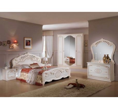 Спальня Юлия (на фото): Кровать, Тумба прикроватная (2 шт.), Комод с зеркалом, Шкаф 4 дверный. Допол..