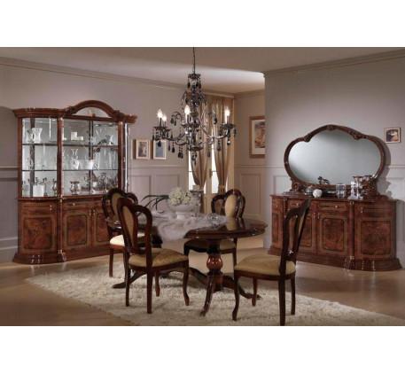 Гостиная Роза (на фото): Комод с зеркалом, Витрина 4 дверная, Стол обеденный (раскладной), Стул (4 ш..