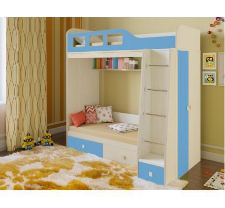 Двухъярусная кровать Астра-3 с шкафом для мальчика, нижнее место 160х80, верхнее 195х80 см