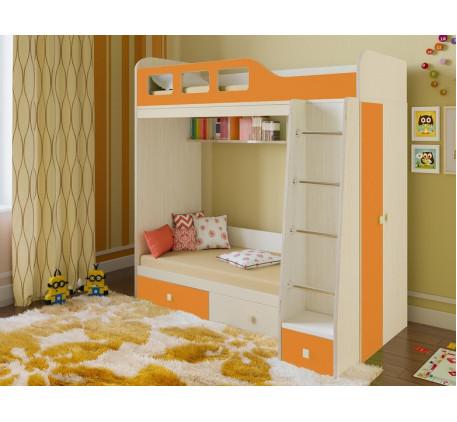 Детская двухъярусная кровать Астра-3 с шкафом, нижнее место 160х80, верхнее 195х80 см