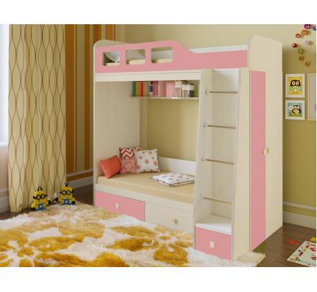 Двухъярусная кровать Астра-3 с шкафом для девочки, нижнее место 160х80, верхнее 195х80 см
