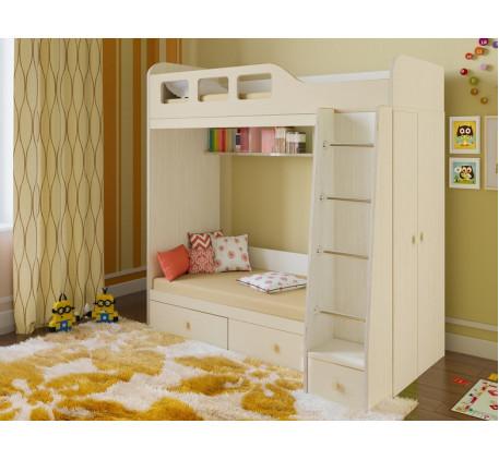 Двухъярусная кровать Астра-3 с шкафом, нижнее спальное место 160х80, верхнее 195х80 см