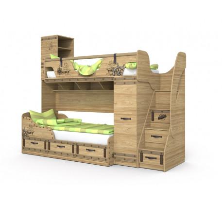 Двухъярусная кровать Корсар, верхнее спальное место 190х80, нижнее 190х90 см