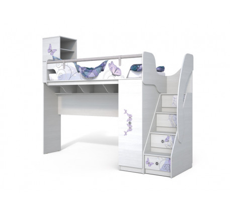 Кровать-чердак Леди-4 для девочки, спальное место 190х80 см